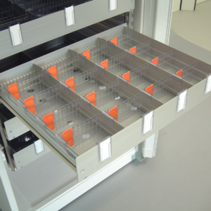 Block of aluminium drawers with dividers and label holders